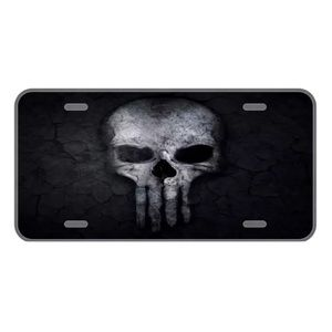 Custom license plate with the punisher type skull